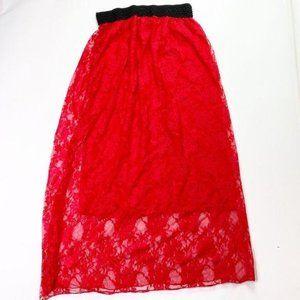 Jon & Anna Red Lace Midi Skirt Black Halloween